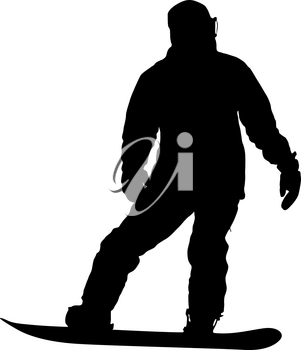 Black silhouettes snowboarders on white background illustration.