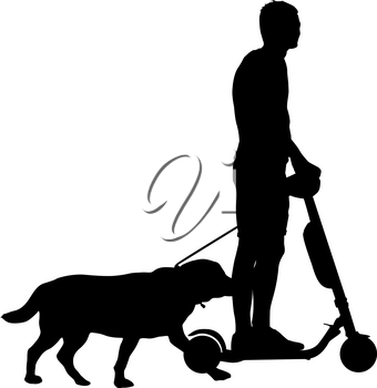 Silhouette of man on a scooter and dog on a white background.