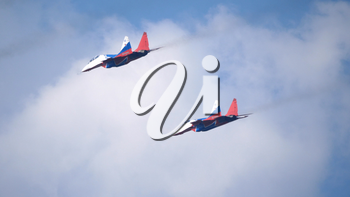 Moscow Russia Zhukovsky Airfield 31 August 2019: aerobatic team swifts MiG-29 perfoming demonstration flight of the international aerospace salon MAKS-2019.