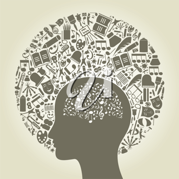 Royalty Free Clipart Image of a Person Thinking of Music and Art