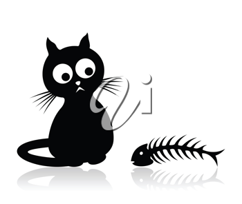 Royalty Free Clipart Image of a Cat with a Fish