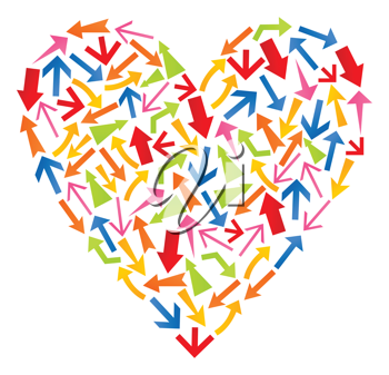 Royalty Free Clipart Image of a Heart Made of Arrows