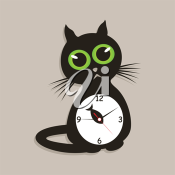 Royalty Free Clipart Image of a Cat Clock