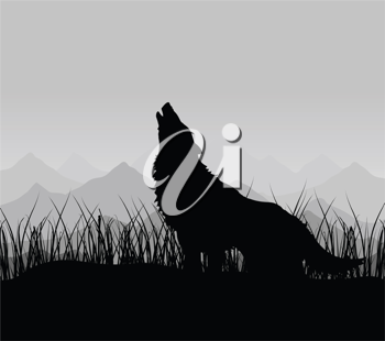 Royalty Free Clipart Image of a Wolf Howling in the Mountains