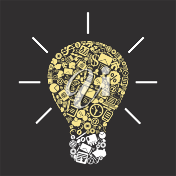 Bulb made of business subjects. A vector illustration