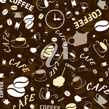 Brown background on a coffee theme. A vector illustration