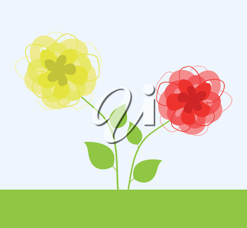 Yellow and red flower. A vector illustration