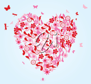 Heart from flowers and butterflies. A vector illustration