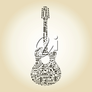Guitar made of notes. A vector illustration