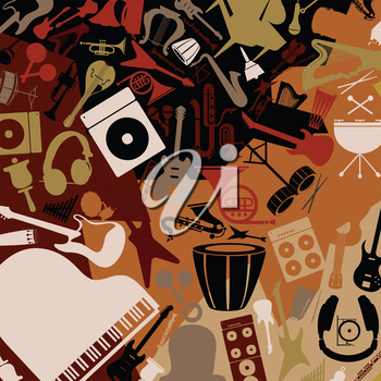 Background from musical instruments. A vector illustration