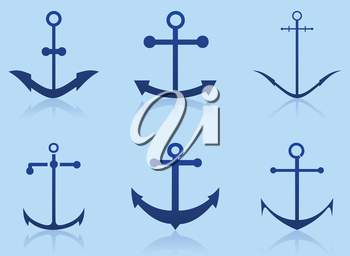 Set of anchors in the form of icons. A vector illustration