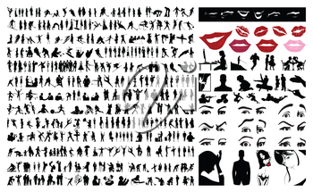 360 silhouettes of people. A vector illustration