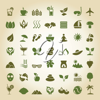 Set of icons on a theme spa. A vector illustration