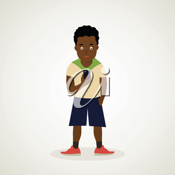 Teen African American holds the phone in his hand. Vector illustration