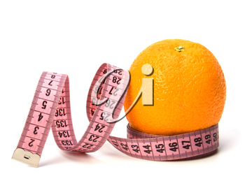 tape measure wrapped around the orange isolated on white background