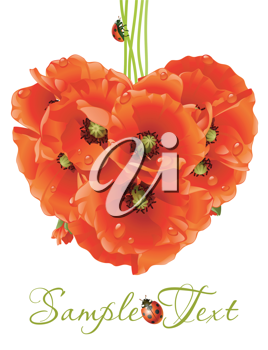 Royalty Free Clipart Image of a Poppy Heart