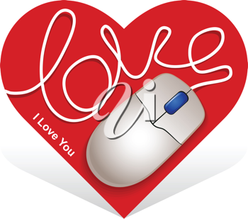 Royalty Free Clipart Image of a Mouse and Heart