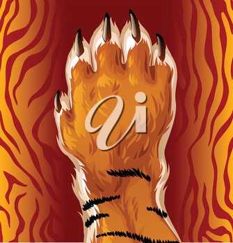 Royalty Free Clipart Image of a Tiger Paw