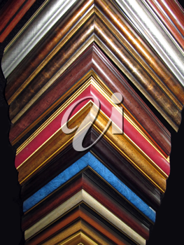Royalty Free Photo of a Display Shelf of Frame Corners