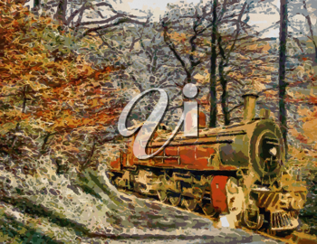 Royalty Free Photo of a Painting of an Orange Steam Train