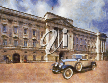 Royalty Free Photo of a Painting of a Rolls Royce Phantom II Henley Roadster