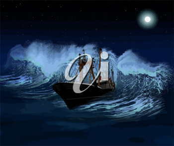 Sinking ship being hit by massive wave at night Vector