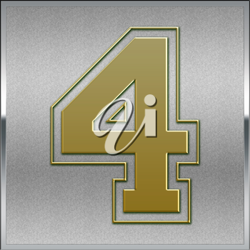 Gold on Silver Number 4 Position, Place Sign or Medal