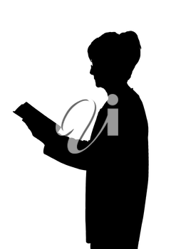 Elderly lady silhouette standing reading a book