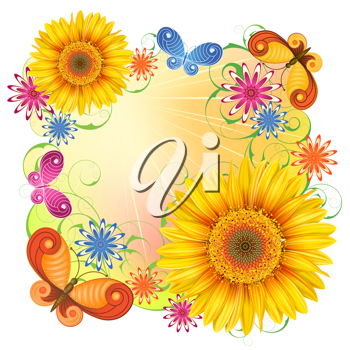 Royalty Free Clipart Image of Butterflies and Flowers
