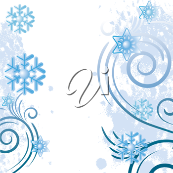 Royalty Free Clipart Image of Snowflakes on White With Flourishes