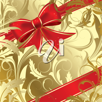 Royalty Free Clipart Image of a Gold Background With a Red Bow