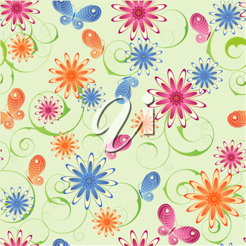 Royalty Free Clipart Image of a Flower and Butterfly Background