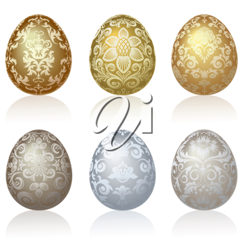 Royalty Free Clipart Image of Six Fancy Eggs