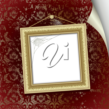 Royalty Free Clipart Image of a Frame on the Wall With Curling Paper