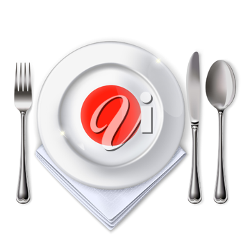 A plate with an Japanese flag. Empty plate with spoon, knife and fork on a white background. Mesh. Clipping Mask. This file contains transparency.