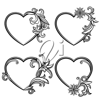 Collection of heart shaped frames. Black and white