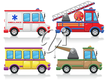 Royalty Free Clipart Image of a Group of Trucks