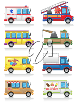 Royalty Free Clipart Image of a Group of Truck