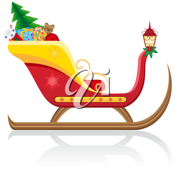 Royalty Free Clipart Image of a Christmas Sleigh