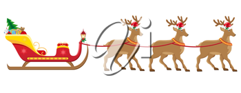 Royalty Free Clipart Image of a Christmas Sleighs
