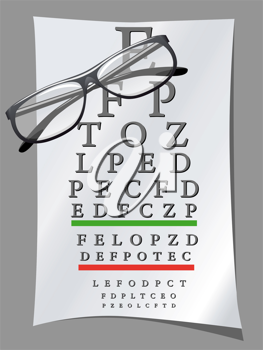Royalty Free Clipart Image of a Snellen Chart and Glasses