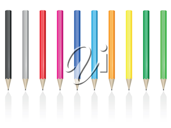 Royalty Free Clipart Image of Colourful Pencils