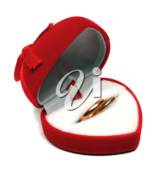 two wedding rings in red box isolated on white background
