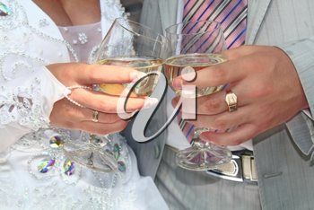 two white wedding glass for fiance and fiancee