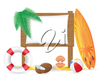 wooden board with beach icons vector illustration isolated on white background