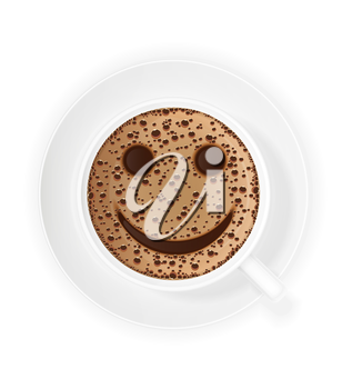 cup of coffee crema and smiley symbol vector illustration isolated on white background