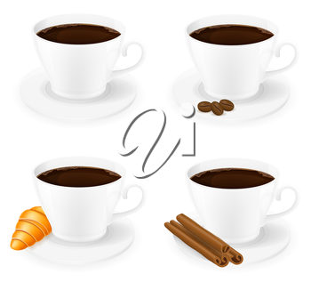 cup of coffee with cinnamon sticks grain and beans side view vector illustration isolated on white background
