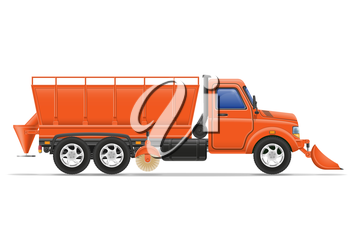 cargo truck clearing snow and sprinkled on the road vector illustration isolated on white background