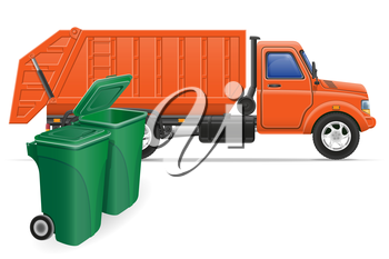 cargo truck garbage removal concept vector illustration isolated on white background
