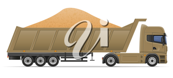 truck semi trailer delivery and transportation of construction materials concept vector illustration isolated on white background